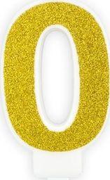 Świeczka urodzinowa, cyferka 0, złota brokatowa, 7 cm. uniwersalny