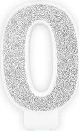 Świeczka urodzinowa, cyferka 0, srebrna brokatowa, 7 cm. uniwersalny