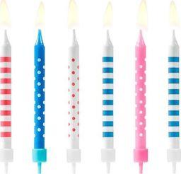 Świeczki urodzinowe, kropki i paski, mix, 6,5 cm, 6 szt. uniwersalny