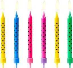 Świeczki urodzinowe, kropki, mix, 6,5 cm, 6 szt. uniwersalny