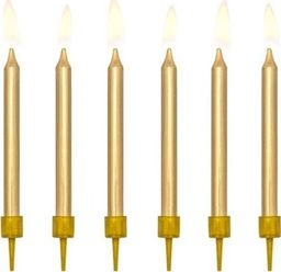Party Deco Świeczki urodzinowe, złote, 6 cm, 6 szt. uniwersalny