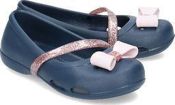 Crocs Crocs Lina Charm Flat - Baleriny Dziecięce - 205529 NAVY 34/35