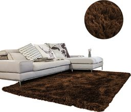 Dywan Living Room Shaggy 200x200cm Dark Brown
