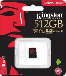 Karta MicroSD Kingston Canvas React 512 GB  UHS-I, A1, V30