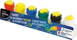 Derform Farby do malowania palcami ze stemplami 6szt KIDEA