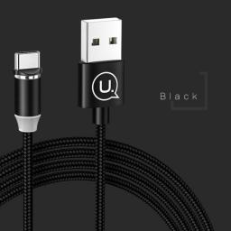 Kabel USB Usams magnetyczny U-Sure USB-C 1m 2.1A pleciony czarny/black SJ293USB01 (US-SJ293)