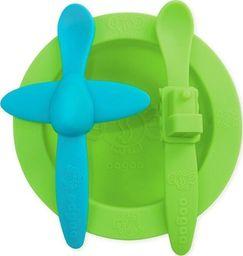 oogaa oogaa Green Meal Set silikonowy talerzyk i 2 łyżeczki