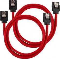 Corsair Premium Sleeved SATA-Kabel, rot 60cm - 2er Pack