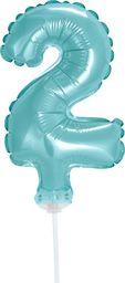"""GoDan Balon 13cm foliowy na patyku """"2"""" błękitna"""