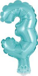 """GoDan Balon 13cm foliowy na patyku """"3"""" błękitna"""