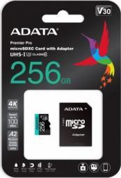 Karta ADATA MicroSDXC Premier Pro 256 GB UHS1 U3 V30 A2 + adapter (AUSDX256GUI3V30SA2-RA1)