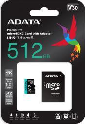 Karta MicroSD ADATA Premier Pro 512 GB UHS1 U3 V30 A2 + adapter (AUSDX512GUI3V30SA2-RA1)