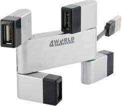 HUB USB 4World USB Hub 2.0 Folded Srebrny 9195