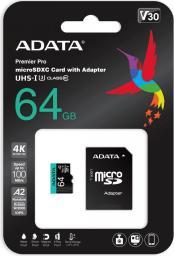 Karta ADATA MicroSDXC Premier Pro 64GB UHS1 U3 V30 A2 + adapter (AUSDX64GUI3V30SA2-RA1)