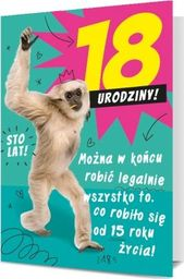 PAN DRAGON Karnet B6 18-te urodziny małpa