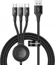 Kabel USB Baseus Star Ring Przewód Usb 4w1 Lightning / Usb Typ C / Micro Usb 1.2m Z ładowarką Qi Do Apple Watch Szary (ca1t4-i0g)