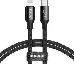 Kabel USB Baseus Yiven Kabel Przewód W Materiałowym Oplocie Usb-c / Lightning 2a 1m Czarny (catlyw-c01)