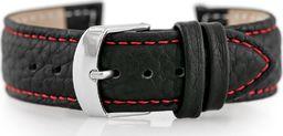 Pacific Pasek skórzany do zegarka W71 - czarny/czerwony - 20mm uniwersalny
