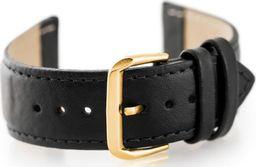 Pacific Pasek skórzany do zegarka W30 - w pudełku - czarny/złoty - 24mm uniwersalny