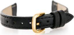 Pacific Pasek skórzany do zegarka W30 - w pudełku - czarny/złoty - 14mm uniwersalny