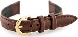 Casio Pasek skórzany do zegarka - CASIO - ciemnobrązowy/złoty I - 12mm uniwersalny