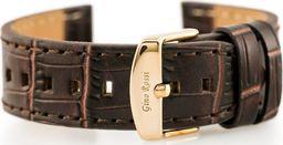 Gino Rossi Pasek skórzany do zegarka - GINO ROSSI - skóra węża płaski - brązowy - 22mm uniwersalny