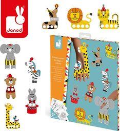 Janod Zestaw kreatywny Papierowe marionetki na palce Cyrkowe zwierzęta