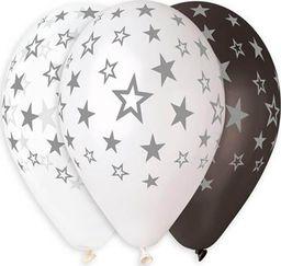 GMR Balony lateksowe w srebrne gwiazdki - 33 cm - 6 szt. uniwersalny