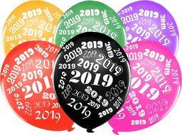 Party Deco Balony metaliczne - mix kolorów z nadrukiem 2019 - 5 szt. uniwersalny