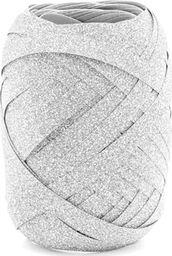 Party Deco Wstążka ozdobna do balonów - brokatowa - srebrna - 10 m. uniwersalny