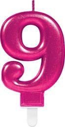 AMSCAN Świeczka cyferka dziewięć 9 różowa - 1 szt. uniwersalny