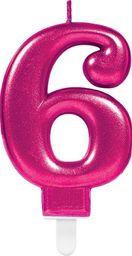 AMSCAN Świeczka cyferka sześć 6 różowa - 1 szt. uniwersalny