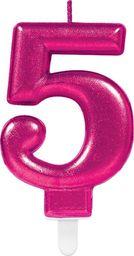 AMSCAN Świeczka cyferka pięć 5 różowa - 1 szt. uniwersalny