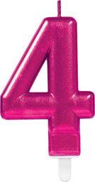 AMSCAN Świeczka cyferka cztery 4 różowa - 1 szt. uniwersalny