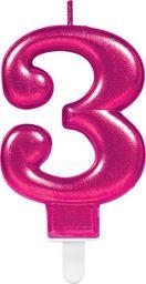 AMSCAN Świeczka cyferka trzy 3 różowa - 1 szt. uniwersalny