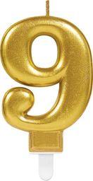 AMSCAN Świeczka cyferka złota dziewięć - 9 uniwersalny