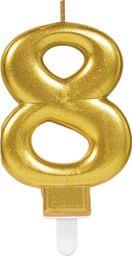 AMSCAN Świeczka cyferka złota osiem - 8 uniwersalny