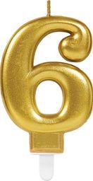 AMSCAN Świeczka cyferka złota sześć - 6 uniwersalny
