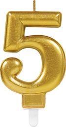 AMSCAN Świeczka cyferka złota pięć - 5 uniwersalny