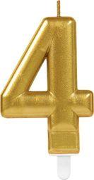 AMSCAN Świeczka cyferka złota cztery - 4 uniwersalny