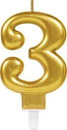 AMSCAN Świeczka cyferka złota trzy - 3 uniwersalny