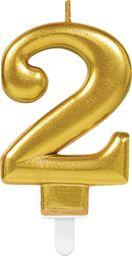 AMSCAN Świeczka cyferka złota dwa - 2 uniwersalny