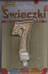 GoDan Świeczka cyferka ze złotą obwódką i brokatem - 7 - 1 szt. uniwersalny