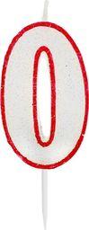 GoDan Świeczka cyferka 0 z brokatem - 1 szt. uniwersalny
