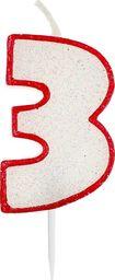 GoDan Świeczka cyferka trójka 3 z brokatem- 1 szt. uniwersalny