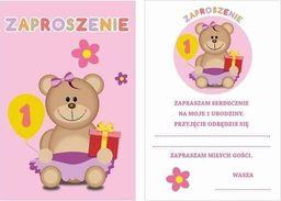 AG Firma Zaproszenia na roczek różowe Moje 1 urodziny - 6 szt. uniwersalny