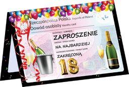 Congee.pl Zaproszenie z kopertą na 18-tke Dowód Osobisty - 1 szt. uniwersalny