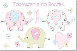 POL Zaproszenie na roczek Słoniki - 1 szt. uniwersalny