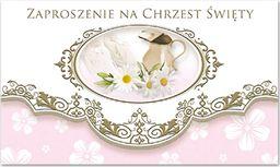 POL Zaproszenie na Chrzest Święty różowe - 1 szt. uniwersalny