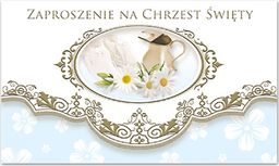 POL Zaproszenie na Chrzest Święty niebieskie - 1 szt. uniwersalny